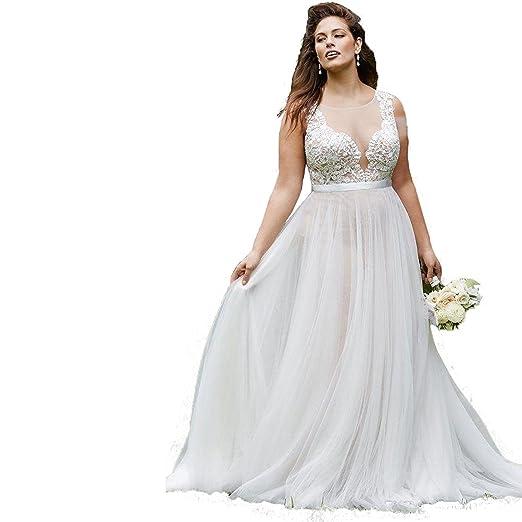 Banfvting Simple Beach Wedding Dresses Plus Size Bridal Gown ...