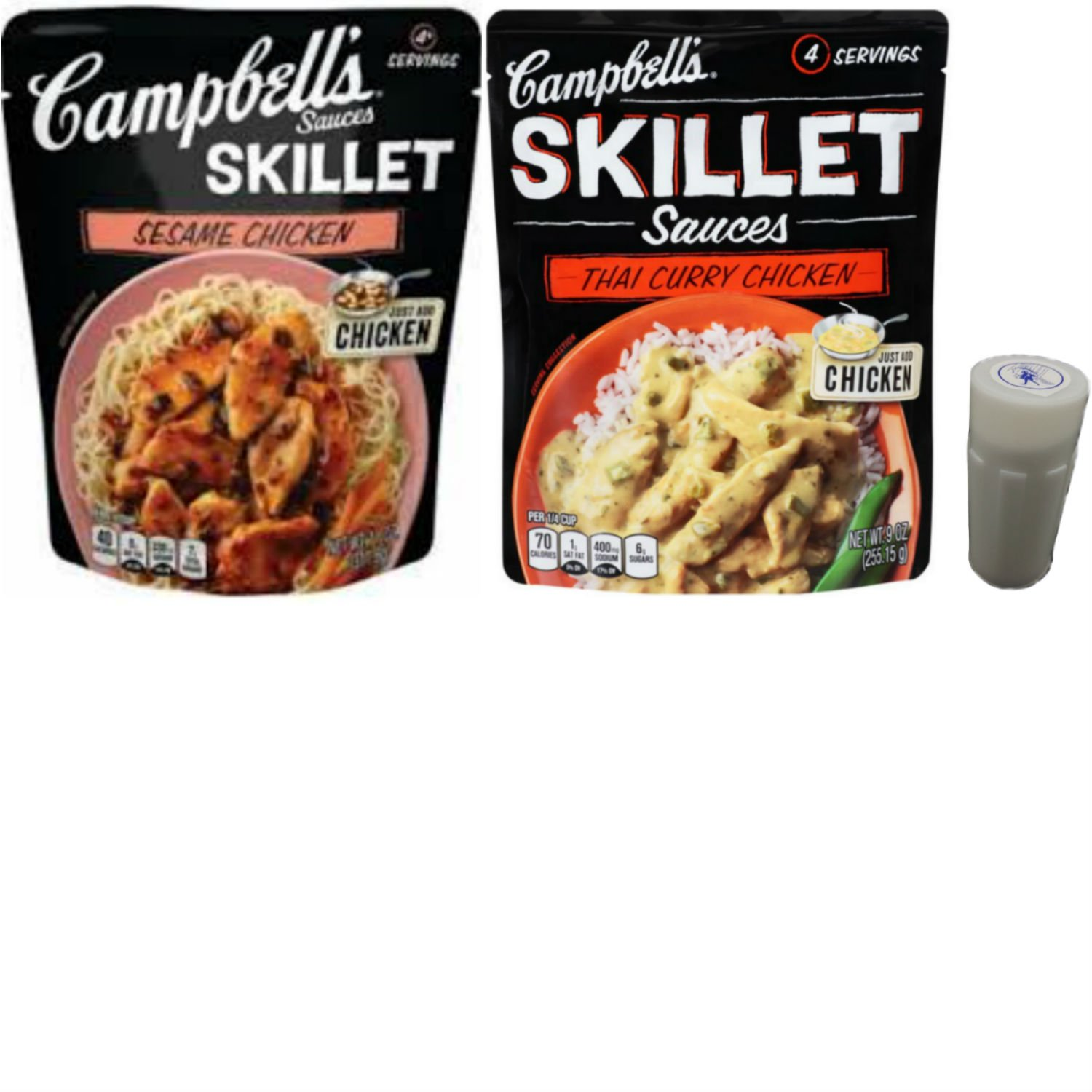Campbells Skillet Sauces for Chicken Variety Pack. One Thai Curry and One Sesame Chicken, 11 Oz Pouches. Easy Method to Prepare Healthy Chicken Dinners. Includes 4 oz Morton Salt Shaker.