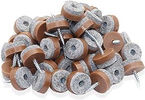 40pcs Round Screw-on Felt Pad Anti-Sliding Floor Protectors for Wood Furniture Chair Table Leg Feet (Φ20mm,Brown)