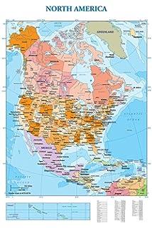 Cartina Politica America Settentrionale.Carta Geografica Murale America Settentrionale 100x140