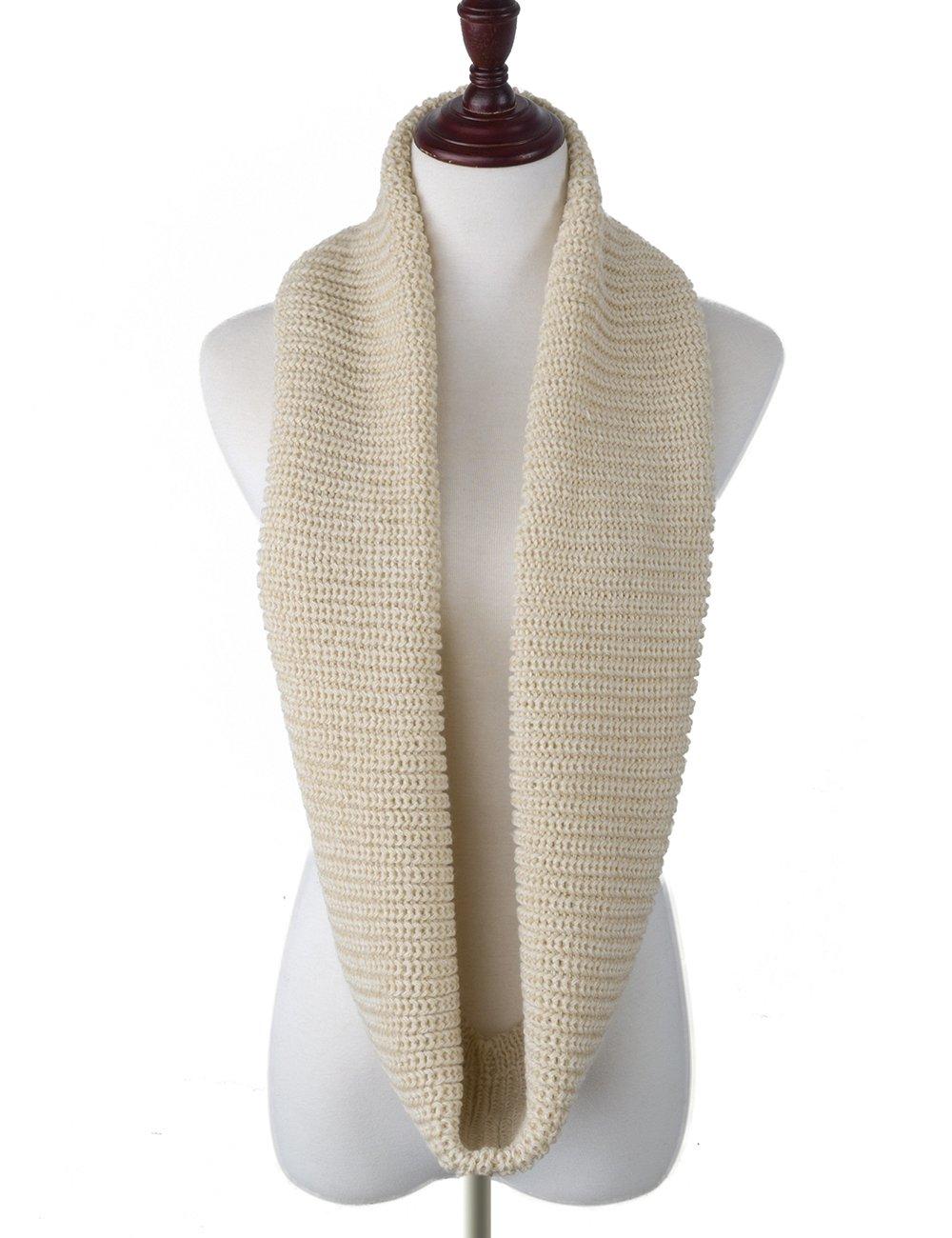 EVRFELAN Infinity Scarf Winter Warm Women Knit Circle Loop Scarves Accessories Grey Soft Neck Men Fashion Ribbed Cowl (Beige)