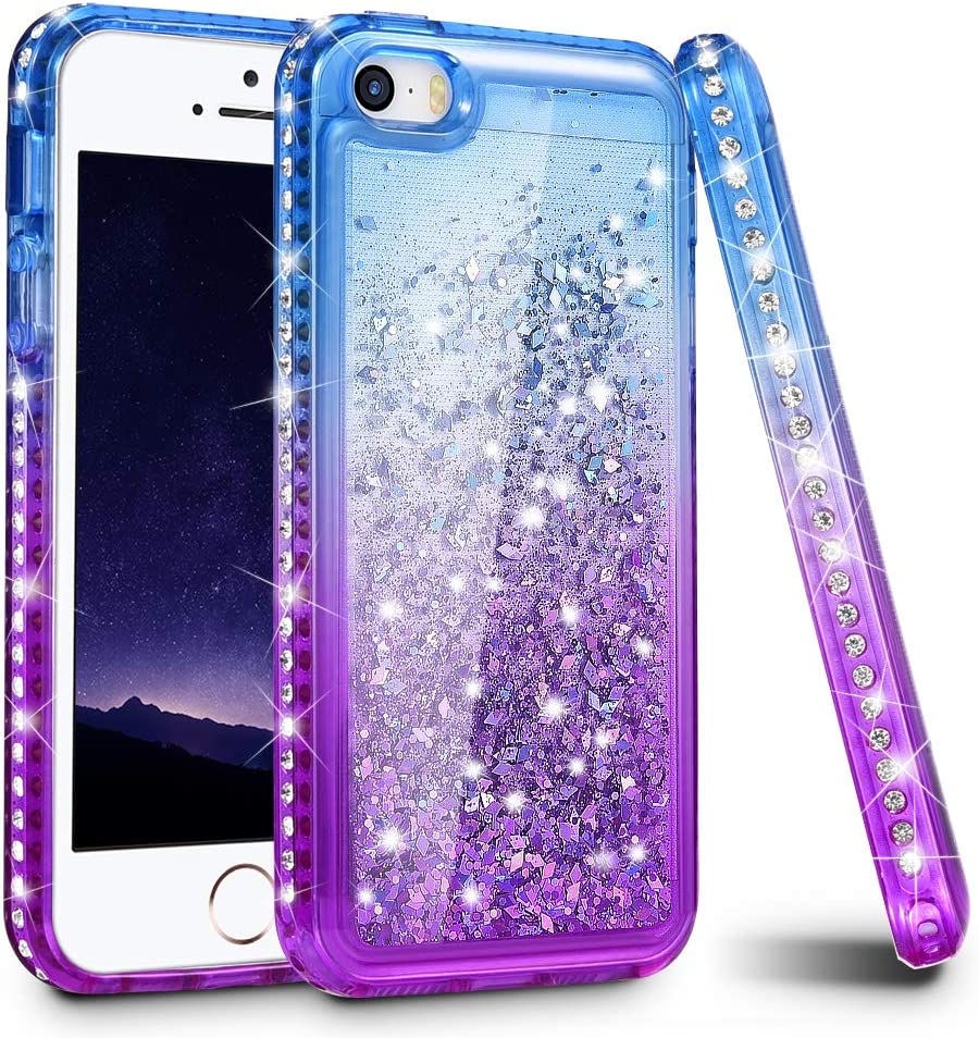Ruky iPhone 5 5S Case, iPhone SE Case (2016), Gradient Quicksand Series Glitter Flowing Liquid Floating Bling Sparkly Diamond Flexible TPU Girls Women Cute Case for iPhone 5 5S SE (Blue Purple)