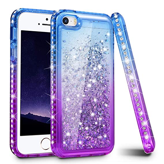 quality design 47573 bac63 iPhone 5/5S/SE Case, Ruky Quicksand Series Glitter Liquid Floating Bling  Diamond Colorful Flexible TPU Cute Case for Apple iPhone 5/5S/SE - ...