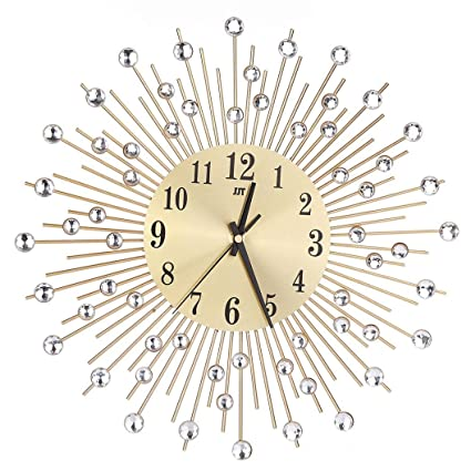 reloj de pared adhesivo grande, Sannysis reloj vintage digital cocina moderno mecanismo 3d (Oro