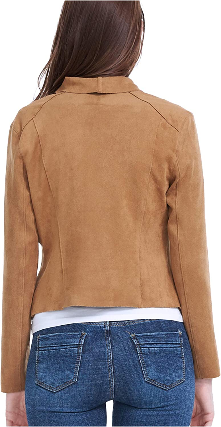 Fasbric Womens Faux Leather Draped Open Front Suede Jacket,Lightweight,Whole Faux Chamois Leather,Zipper Tops Outwear