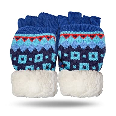 Amazon.com  Pudus nordic blue adult cozy Fingerless Gloves with ... d1aa19d6927a