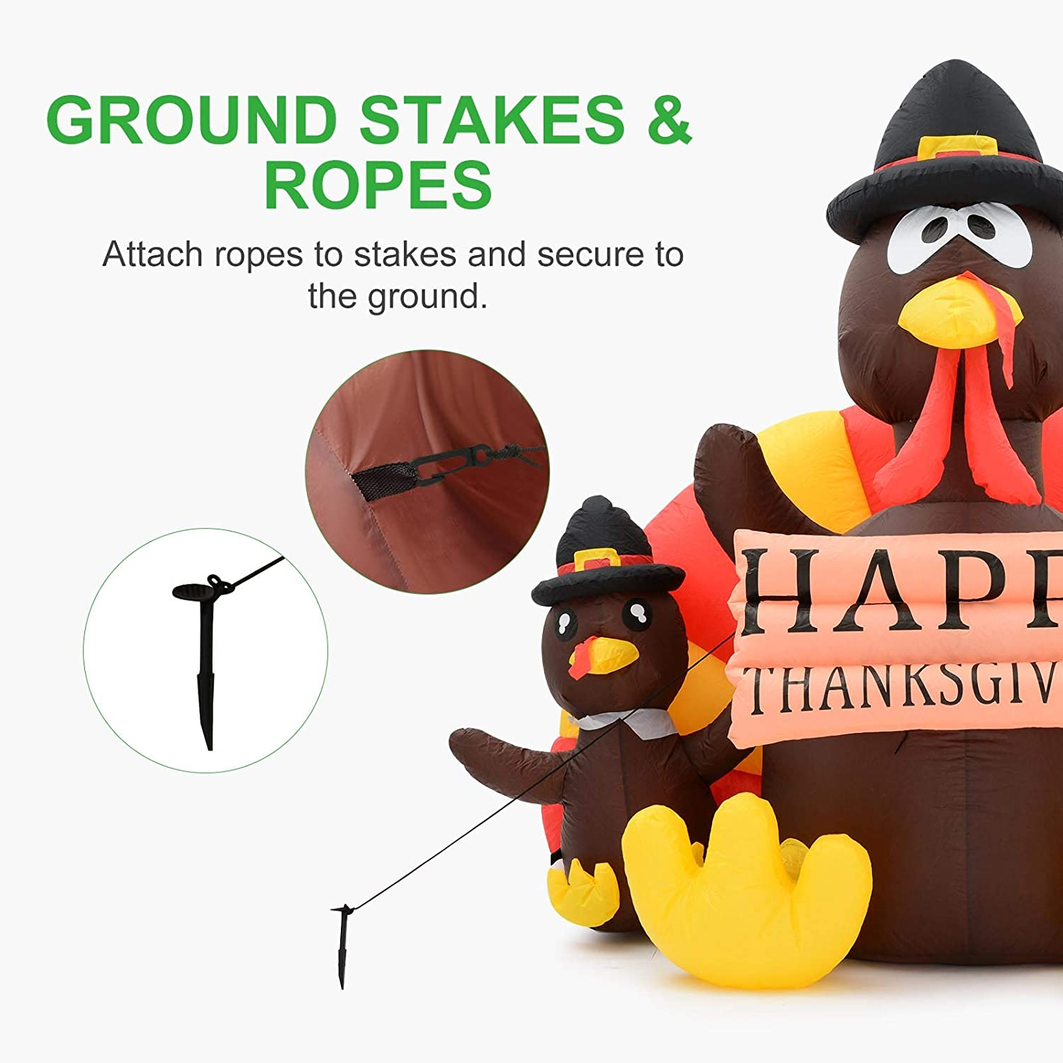 Airblown Indoor Outdoor Lawn Yard Garden Holiday Decoration GROWNEER 6 Feet Height Thanksgiving Inflatable Turkey with LED Lights and Anchor Ropes