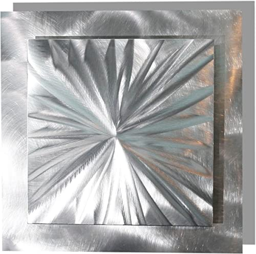 Statements2000 Contemporary 3D Silver Metal Wall Accent with Futuristic Abstract Etchings – Metallic Home Decor, Handcrafted Metal Wall Art – Prizm 3 by Jon Allen – 12 x 12