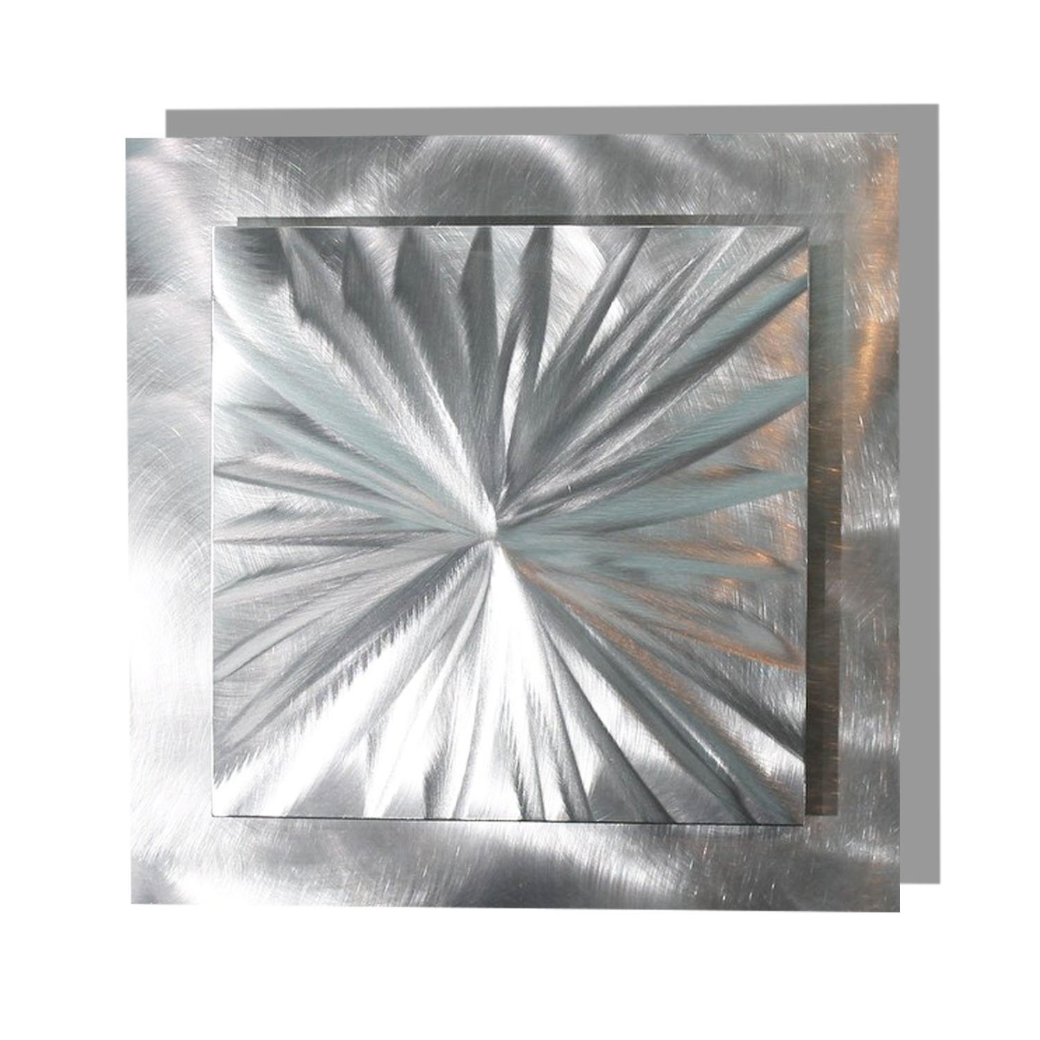 """Statements2000 Contemporary 3D Silver Metal Wall Accent with Futuristic Abstract Etchings - Metallic Home Decor, Handcrafted Metal Wall Art - Prizm 3 by Jon Allen - 12"""" x 12"""""""