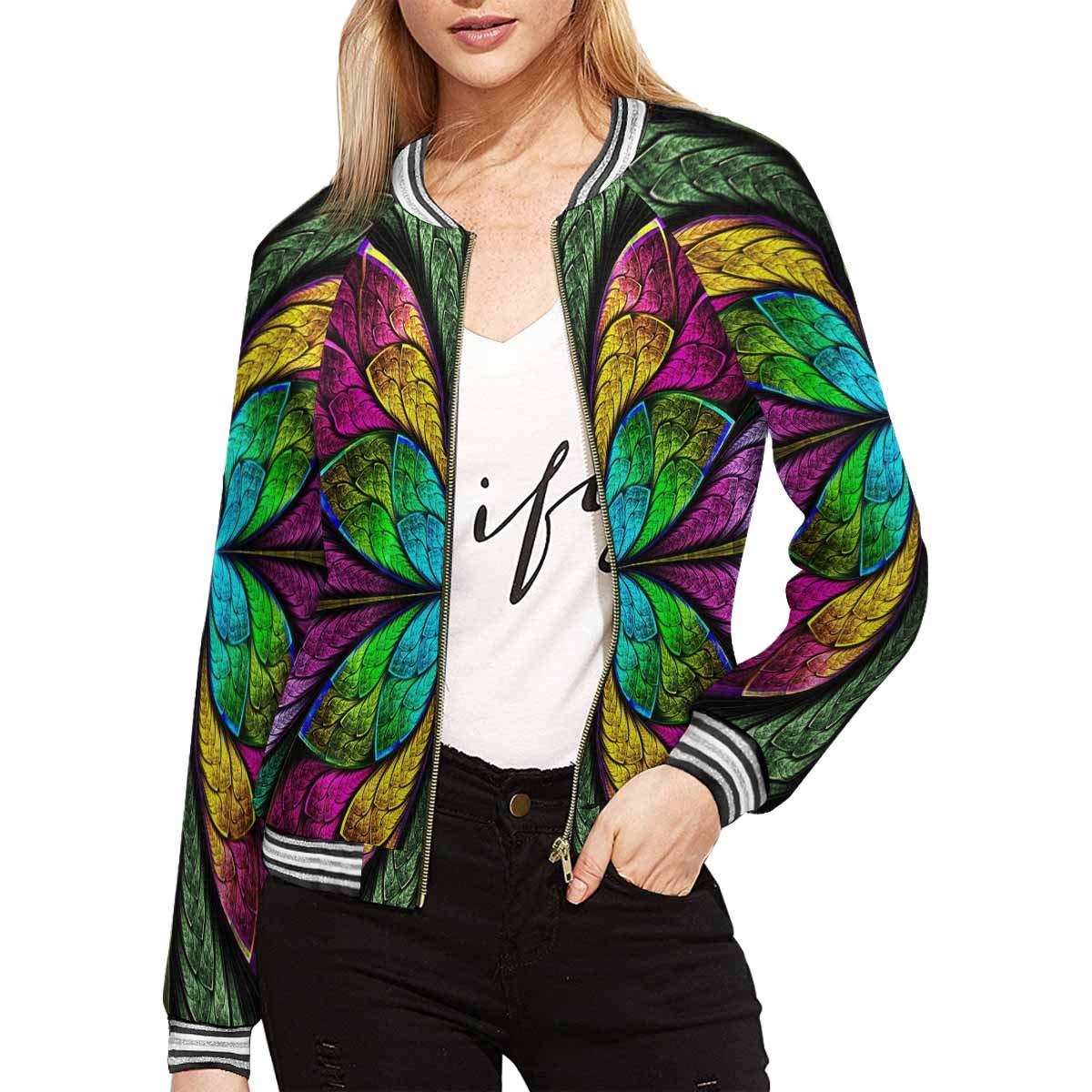 InterestPrint Symmetrical Multicolor Fractal Flower in Stained Glass Style Women's Casual Jacket Coat XXL