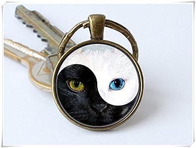 Beautiful Dandelion Yin y Yang y Yin Yang Llavero Gatos Gato Clave Cadena Llavero con diseño de Gato, Color Negro y Blanco: Amazon.es: Joyería