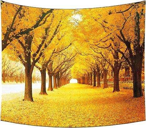 Bäume im Herbst Blätter Druck Natur Wandteppich und Tagesdecke