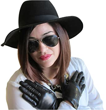 30719733be00c Fownes Women's Cashmere Lined Black Metisse Lambskin Leather Gloves 6.5/S