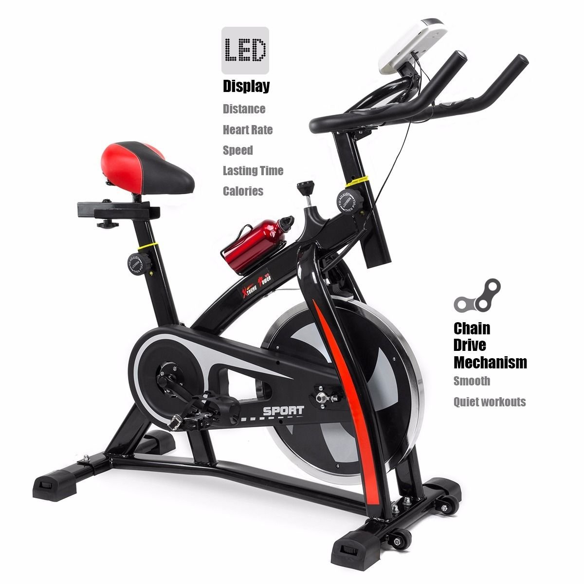87817e9b9bf Amazon.com   Stationary Exercise Bicycle Indoor Bike Cycling Cardio Health Workout  Fitness   Sports   Outdoors