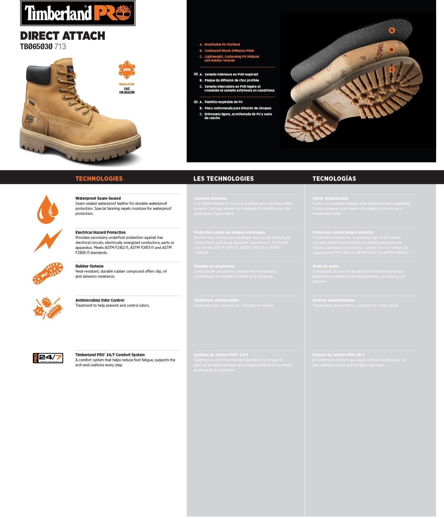 Timberland PRO Men's Direct Attach Six-Inch Soft-Toe Boot, Wheat Nubuck,9.5 W by Timberland PRO (Image #1)