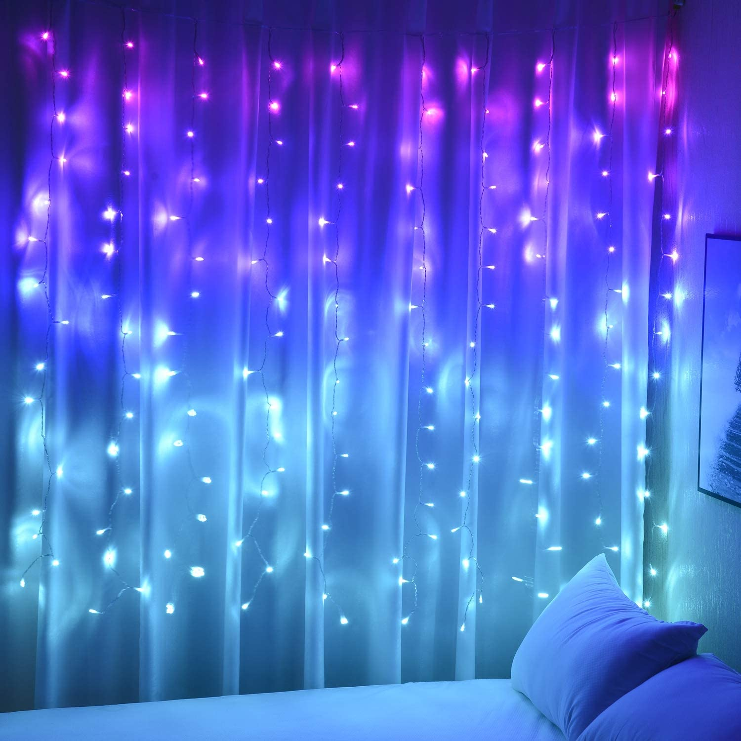 Curtain Lights Pink Blue Purple Fairy Lights for Bedroom Wall Hanging Christmas Lights Twinkly for Teen Girls Unicorn Mermaid Under The Sea Ocean Nautical Beach Themed Room Decor (Purple Blue Ombre)