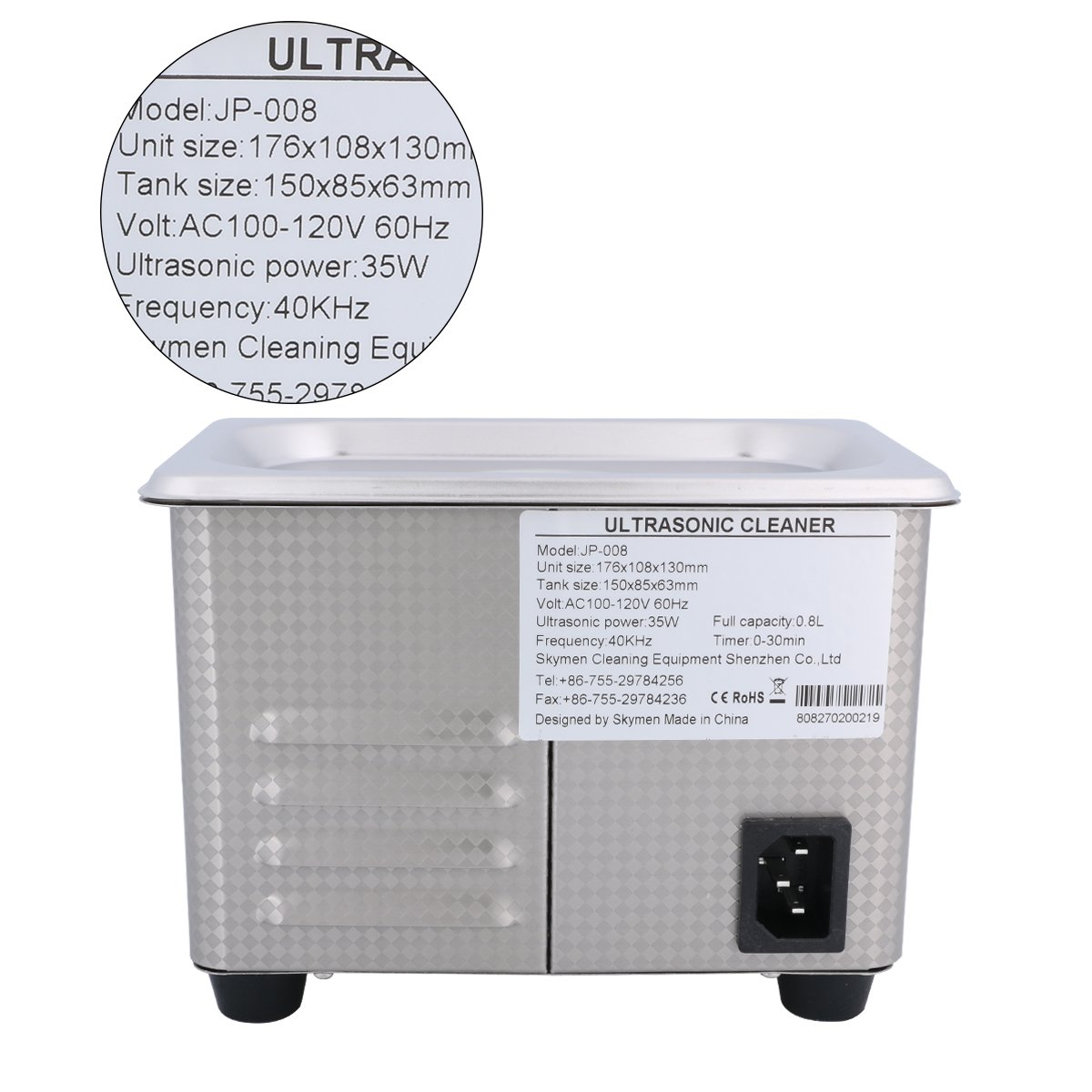 Ultrasonic Cleaners Digital Timer for Cleaning Jewelry and Eyeglass  100-120V/60HZ 35W 0 8L stainless steel