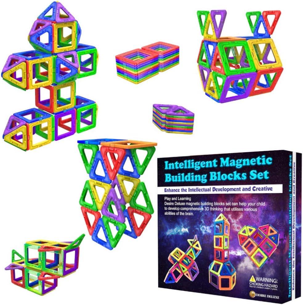Desire Deluxe Bloques de Construcción Magnéticos Infantiles - Juego Creativo Educativo de 40 Piezas de Formas Geométricas con Imanes para Estimular la Imaginación Niños y Niñas