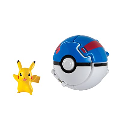 Pokemon Throw N Pop Great Ball with Pikachu Action Figure Toy Set: Toys & Games
