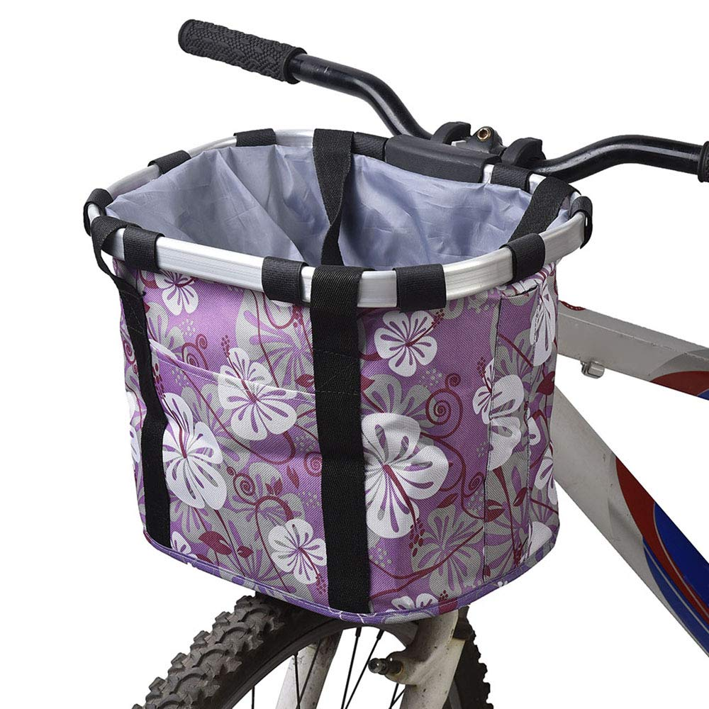 Purple Bicycle Front Basket, Multi Purpose Handlebar Bike Basket Organizer Metal Aluminum Frame Detachable Cycling Pet Carrier Bag with Shoulder Strap