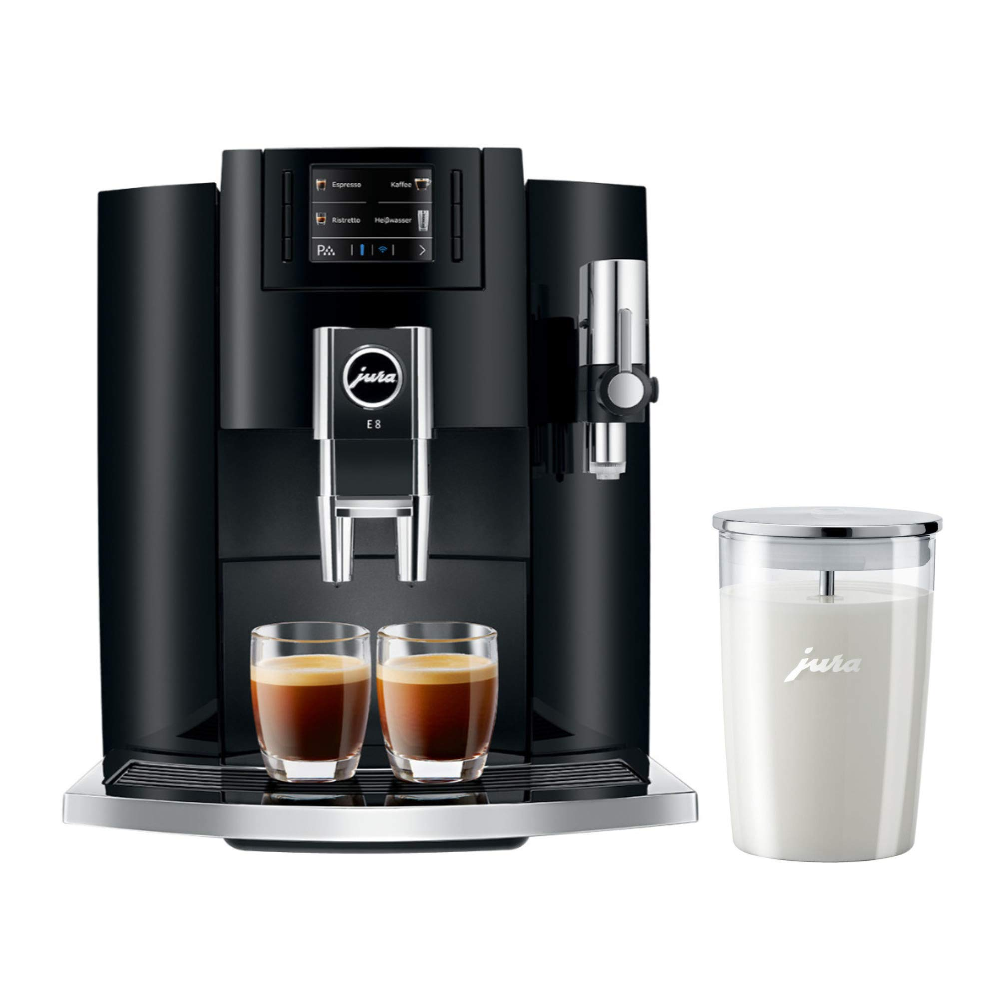 Jura E8 Automatic Coffee Machine (15270, Piano Black) Bundle with Glass Milk Container (2 Items) by Jura