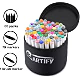Artify Artist Alcohol Based Art Marker Set/80 Colors Dual Tipped Twin Marker Pens with Carrying Case/AP Certified