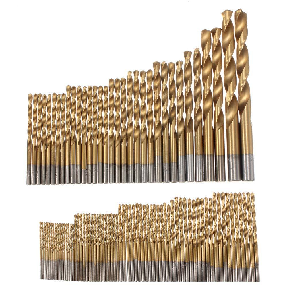 Strollway Praktisch und praktisch HSS Bohrer, 100 stü cke 1,5mm-10mm Titanium Coated Bohrer Set Schnellarbeitsstahl Manuelle Spiralbohrer