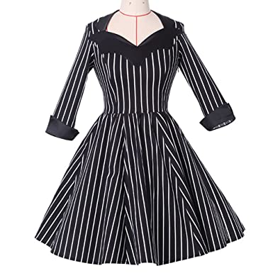 KeKeD23921 Strip Retro 50s Long Sleeve Vintage Dress For Women Summer Sundresses Party Casual Dress Rockabilly Vestidos at Amazon Womens Clothing store: