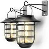 Home Zone Security Solar Wall Lantern Lights - Outdoor 3000K Decorative Light Fixture Wall Mount with No Wiring Required…
