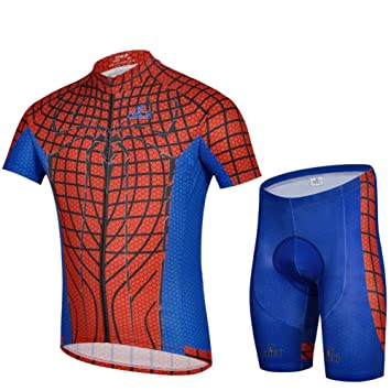 Weelly Summer Hero Men Short Sleeve Cycling Jersey Shirts Pants Iron Man  Spiderman Superman Captain America 49bb4d772