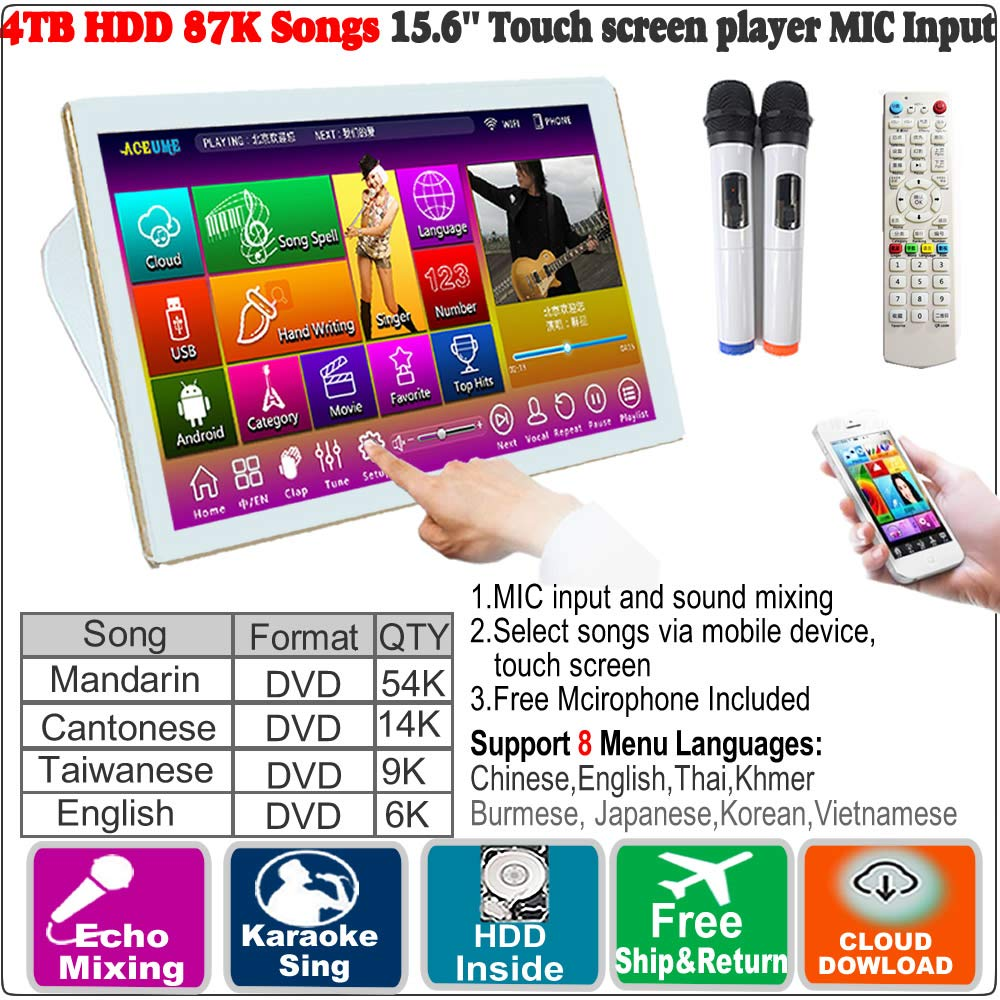 4TB HDD 87K Touch screen karaoke player, Chinese English Songs Machine,Cloud Download,Microphone input,ECHO Mixing, Free Microphone Included 觸摸屏,點歌機,云下載