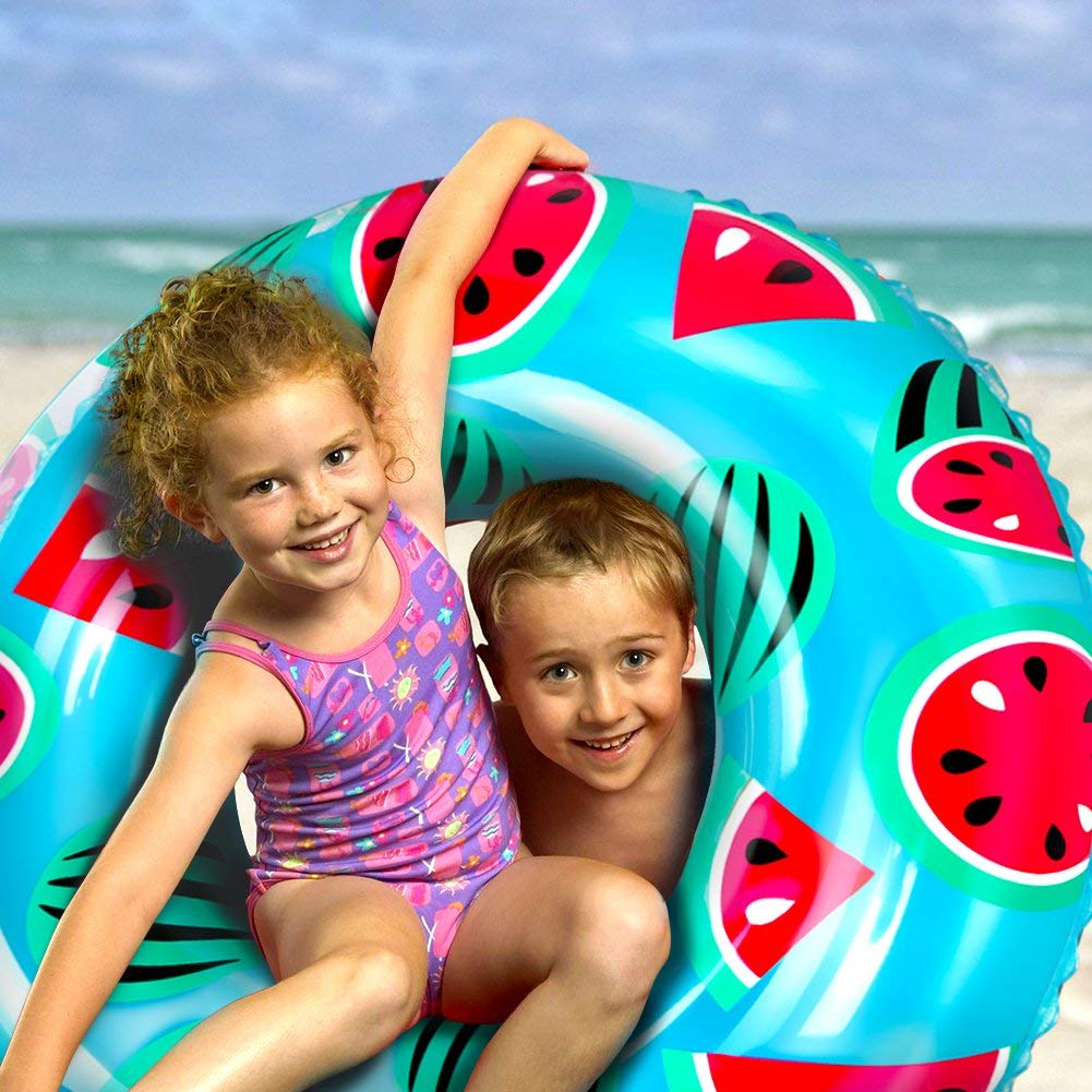 FEXEVON Inflatable Swim Ring Summer Pool Beach Funny Inflatable Toy for Adults and Kids 60cm Donut Swim Pool Float with Integrated Built-in Air Pump