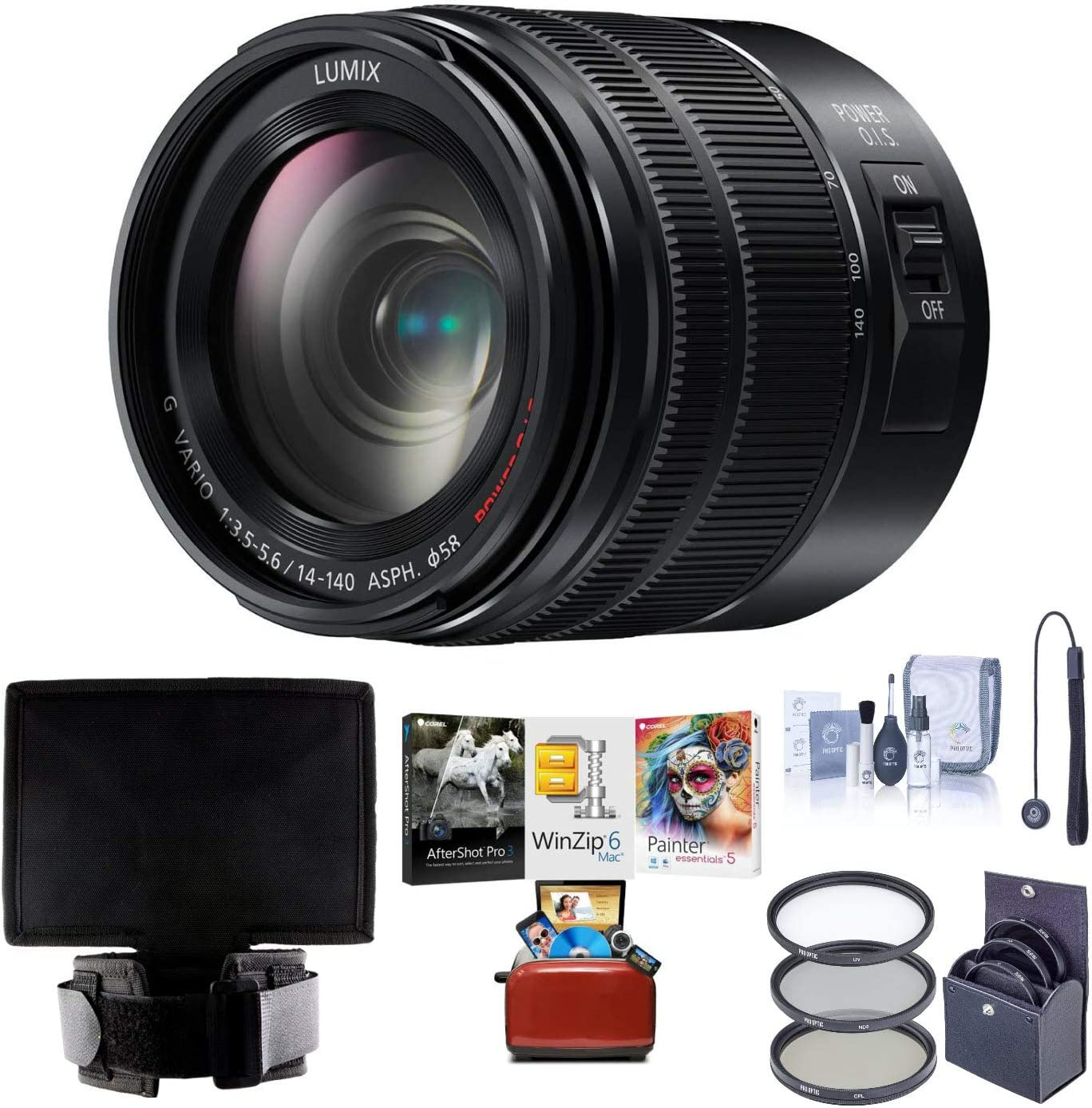 Panasonic Lumix G Vario 14-140mm Telephoto Zoom Lens with F3.5-5.6 II ASPH, Mirrorless Micro Four Thirds, Power O.I.S. - H-FSA14140 (Upgraded) Bundle with Filter Kit, Lens Shade, Mac Software + More