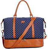 BAOSHA HB-28 Ladies Women Canvas Travel Weekender Bag Overnight Carry-on Shoulder Duffel Tote Bag (Blue Dots with Shoe Compartment)