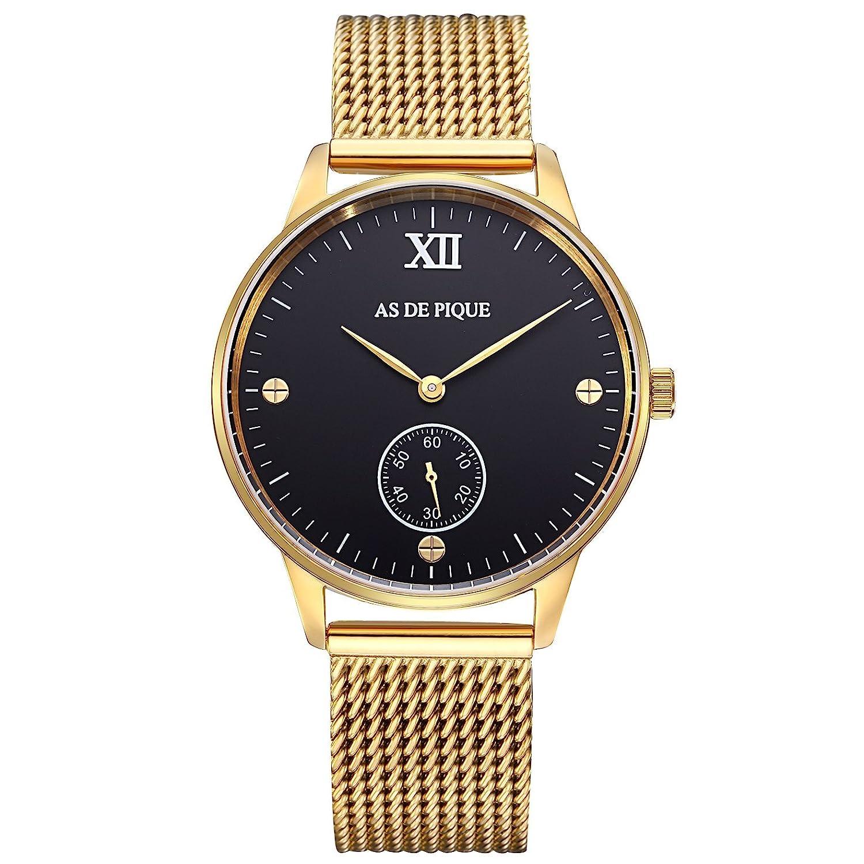 AS DE PIQUE Simple XII Unisex Armbanduhr Sekundenanzeige Schrauben 50m wasserdicht mesh gold