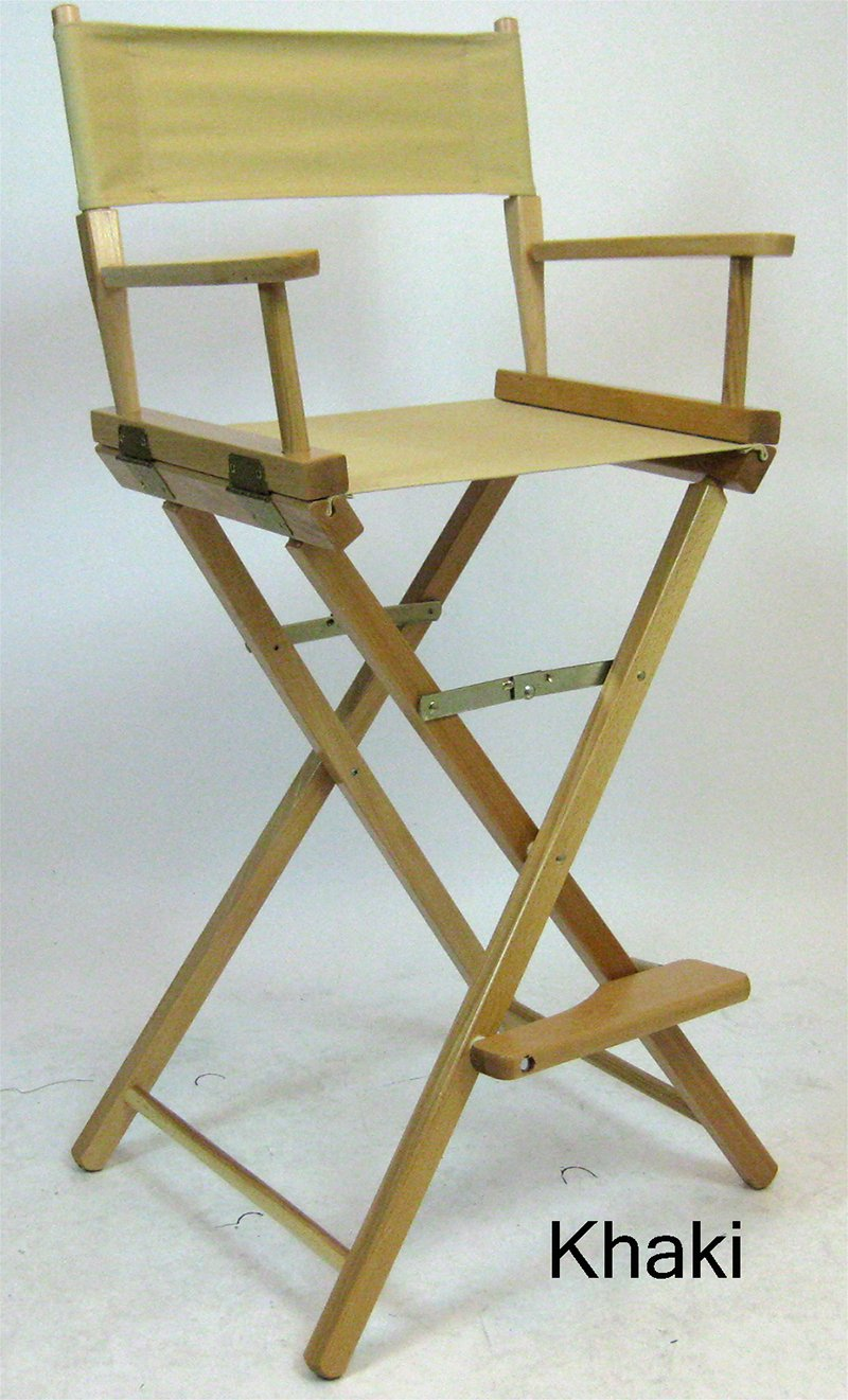 Gold Medal 30'' Bar Height Natural Frame Directors Chair