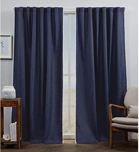 Exclusive Home Curtains Marabel Lined Blackout Hidden Tab Top Curtain Panel Pair, 54×96, Indigo White