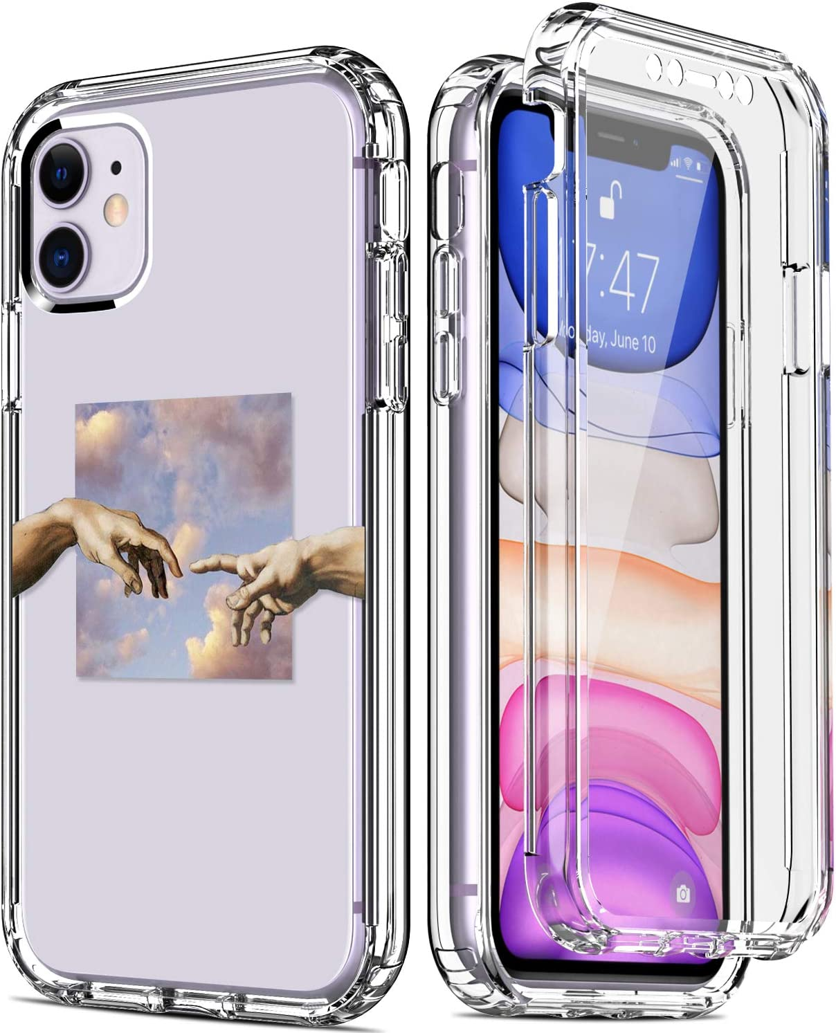 """IKAZZ iPhone 11 Case with Built-in Screen Protector,Clear TPU Bumper Cover with Fashionable Floral Designs for Girls Women,Protective Phone Case for Apple iPhone 11 6.1"""" Hunger for Your Touch"""