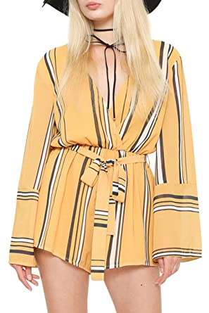 973db8383ac1 Amazon.com  GEEGEEBAE L atiste Women s Striped Long Sleeve Romper ...