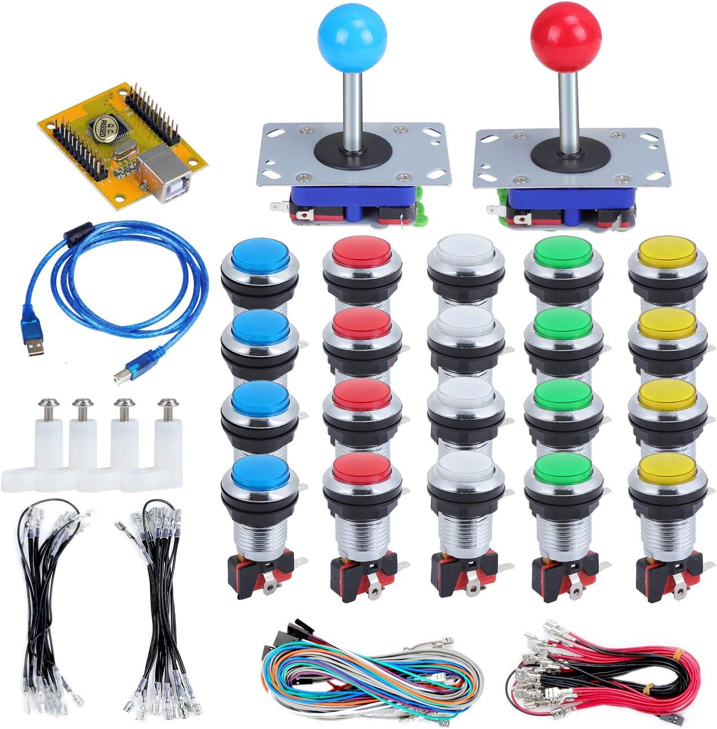 KEESIN 2 jugadores LED Arcade Kit de botones y joysticks, 2 joysticks y 20 botones LED Arcade, piezas de controlador de juegos para PC, MAME y Raspberry Pi