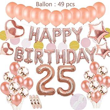 Juego de oro rosa de decoración de 25 años de edad: globos de papel de helio Banner de feliz cumpleaños y Número 25 y 30 globos y 4 estrellas ...