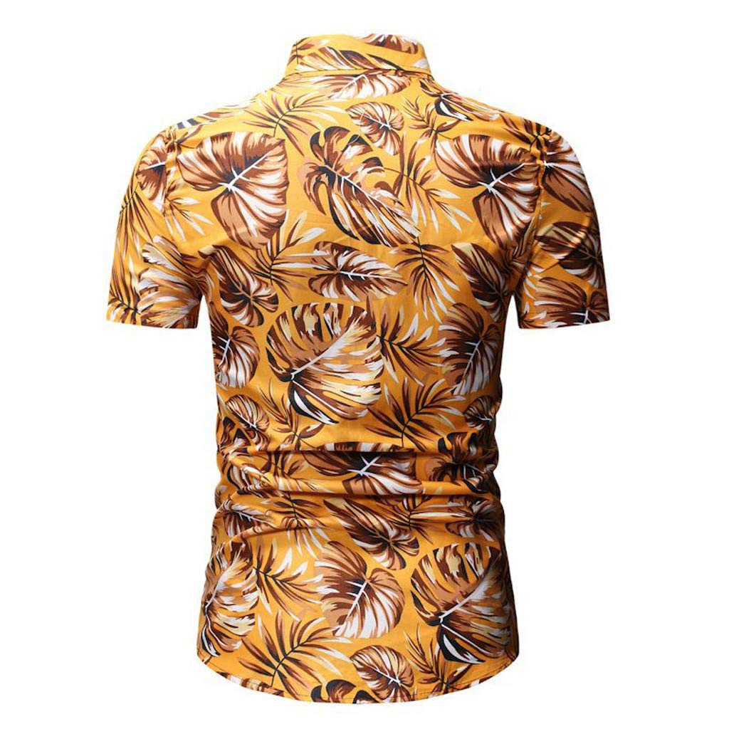 Xiloccer Men Casual Slim Fit Short Sleeve Printed Stand Collar Button Shirt Top Blouse