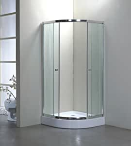900 mm x 900 mm mampara de ducha y fibra de vidrio bandeja y toalla para raíl de cortina con cristal de seguridad templado anti-golpes: Amazon.es: Hogar