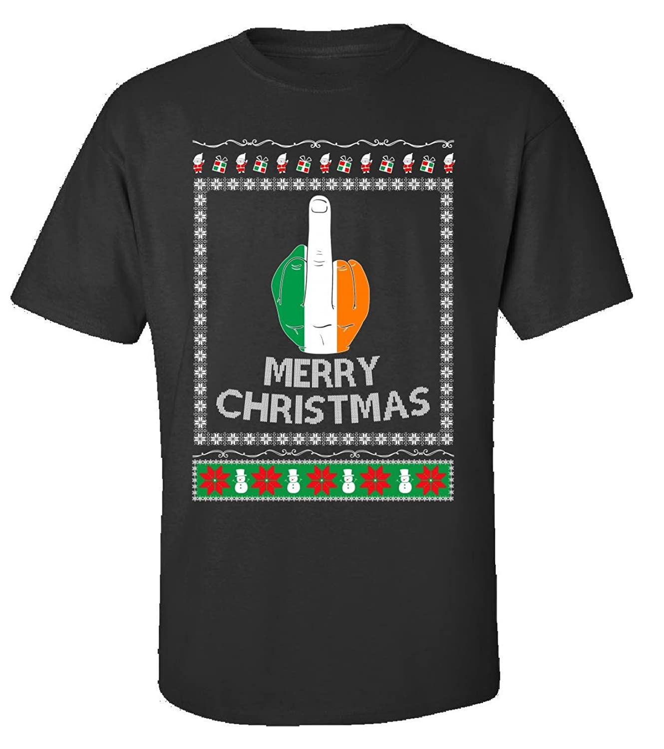 Middle Finger Salute Gifts For Irish Men Ugly Xmas Flag - Adult Shirt