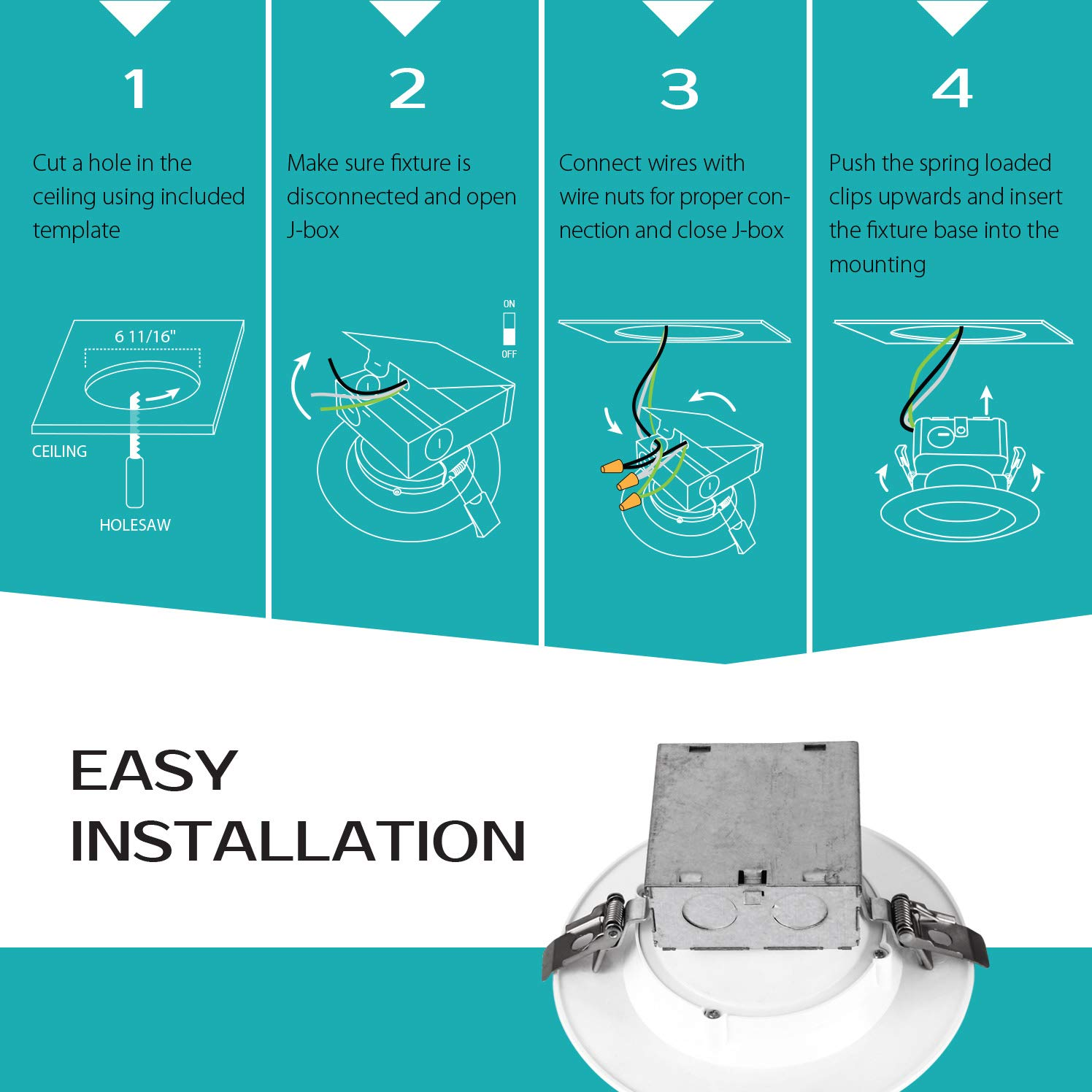 LUXTER (12 Pack) 6 inch LED Ceiling Recessed Downlight With Junction Box, LED Canless Downlight, Baffle Trim, Dimmable, IC Rated, 15W(120Watt Repl) 4000K 1100Lm Wet Location ETL and Energy Star Listed by Luxter (Image #5)