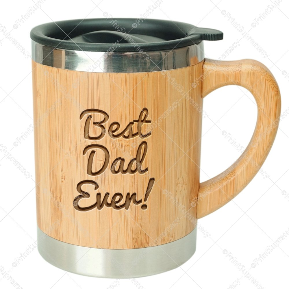 Best Dad Ever-Stainless Steel Bamboo Coffee Mug Insulated with Lid Father's Day Gift Mug,Father Birthday Gift,Dad Gifts,World's Best Dad Gift,Best Dad Gifts,Best Dad Mug,Dad Coffee Mug,Husband Gifts