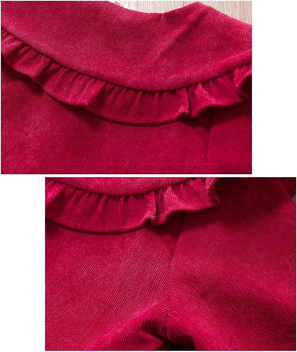 Baby M/ädchen Kleid 6-24 Monate Cord Spitzenkragen Prinzessin Kleider Kinder S/äugling Kleinkind Partei Rock Einfarbig Bowknot Elastischen /Ärmeln