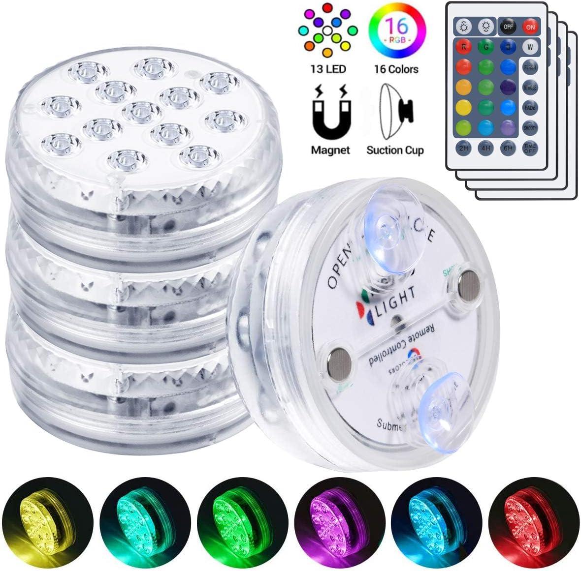 flintronic Luces LED Sumergibles, 4Pcs 13LED RGB Multi cambio de color Piscina Luz LED Impermeable,Control Remoto Bajo El Agua Luz para base de florero, jacuzzi, tanque de peces, Acuario Decoración