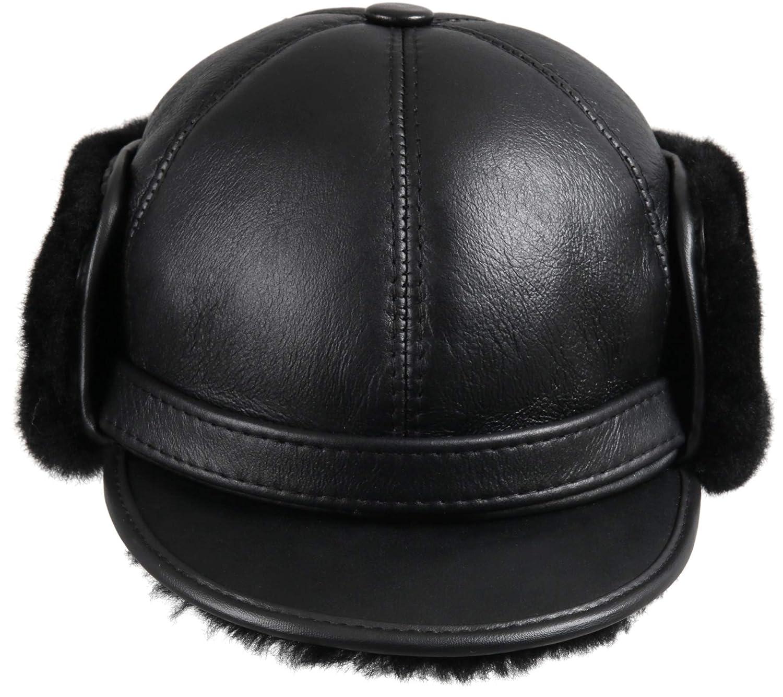 8cb0c3eda Zavelio Men's Shearling Sheepskin Elmer Fudd Pilot Visor Hat