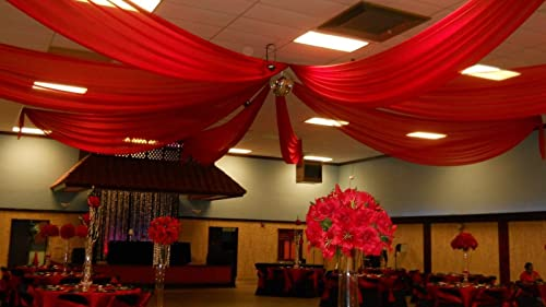 Ceiling Draping Red Sheer Ceiling Curtain Voile Chiffon Ceiling Drape 10 Ft W X 75 Ft H Panel Wedding